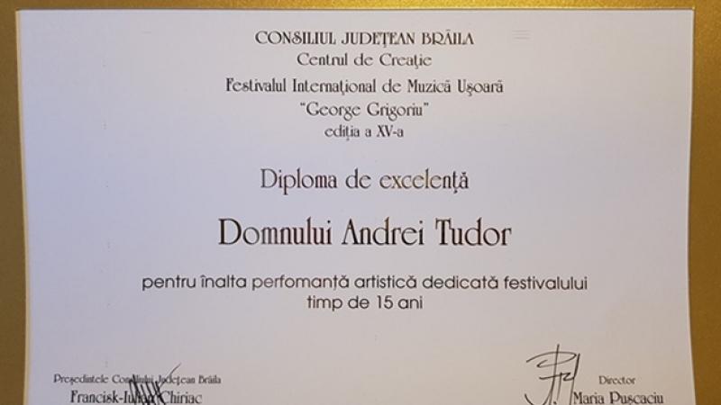 Muzica, o legătura de familie. Andrei Tudor, premiat la festivalul dedicat memoriei bunicului sau, George Grigoriu
