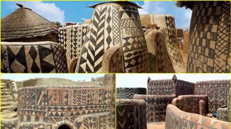 Case pictate din lut- Tiebele, Burkina Faso