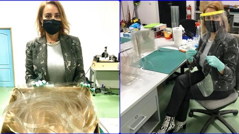 FAPTA MINUNATA: LAURA VILSAN, DIRECTORUL DGASPC SIBIU, s-a apucat de confectionat viziere pentru angajatii institutiei!
