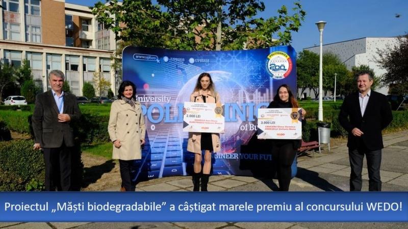 """Universitatea POLITEHNICA din Bucuresti dezvolta noi proiecte inovative; Proiectul """"masti biodegradabile"""" a castigat marele premiu al WEDO"""